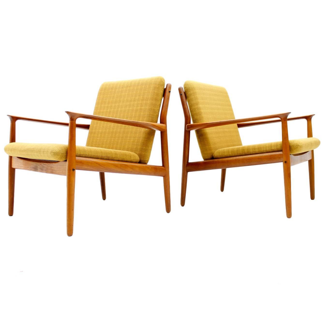 Pair Danish Teak Lounge Chairs by Grete Jalk 1960 at 1stdibs