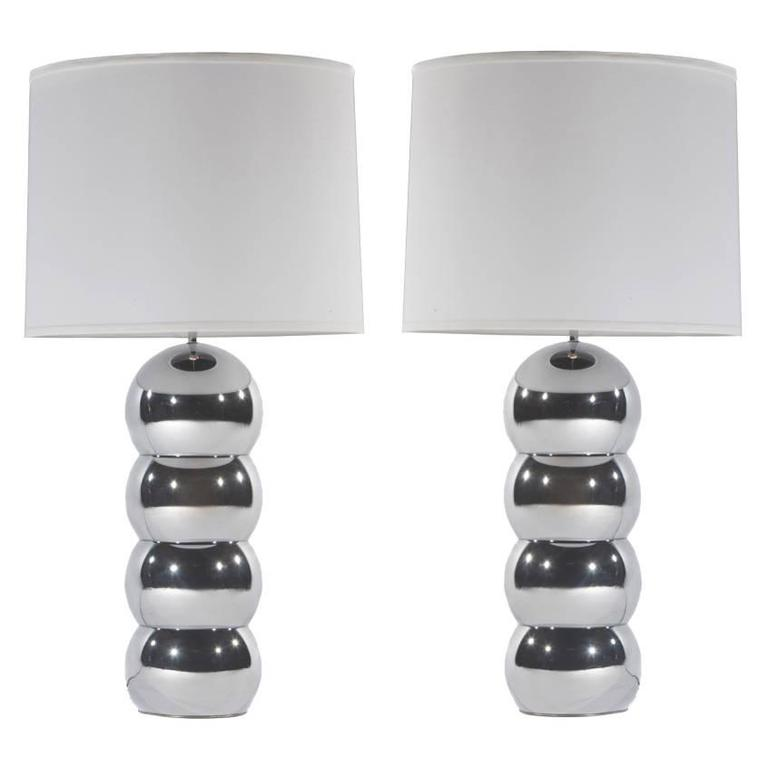 Pair of 1970s Chrome Stacked Ball Lamps by George Kovacs