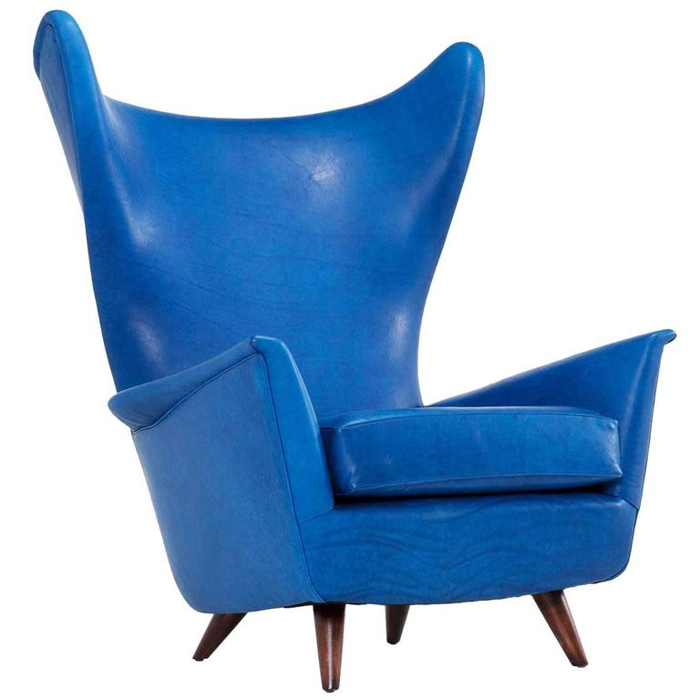 Mid century reupholstered italian wingback chair for sale for Reupholstered furniture for sale