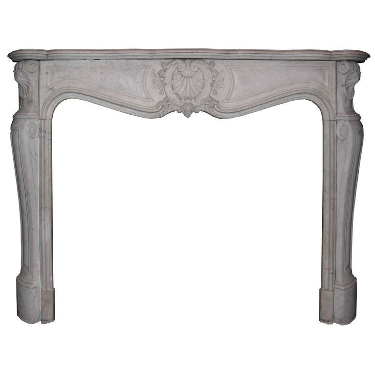 Antique Carrara Marble Fireplace Mantel