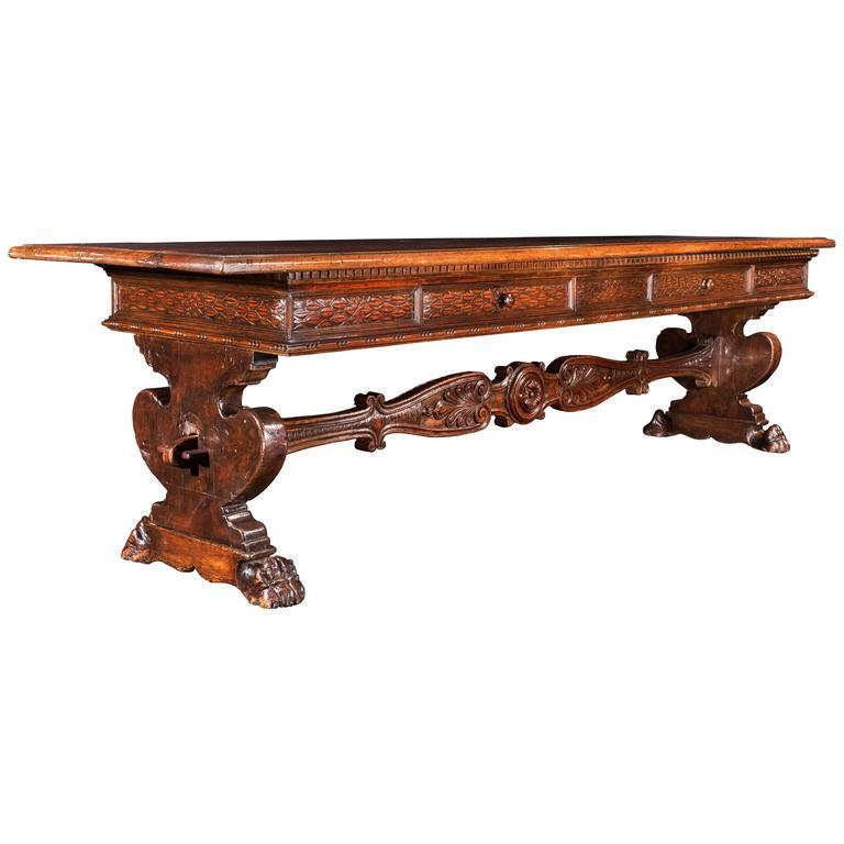 Italian Renaissance Walnut Library Table