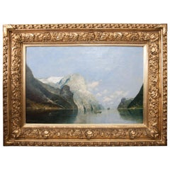 Oil on Canvas of a Fjord by A.G. Rasmussen in Giltwood Frame