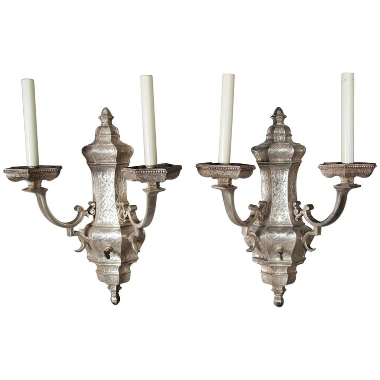 Pair of Silvered Bronze Sconces by Caldwell