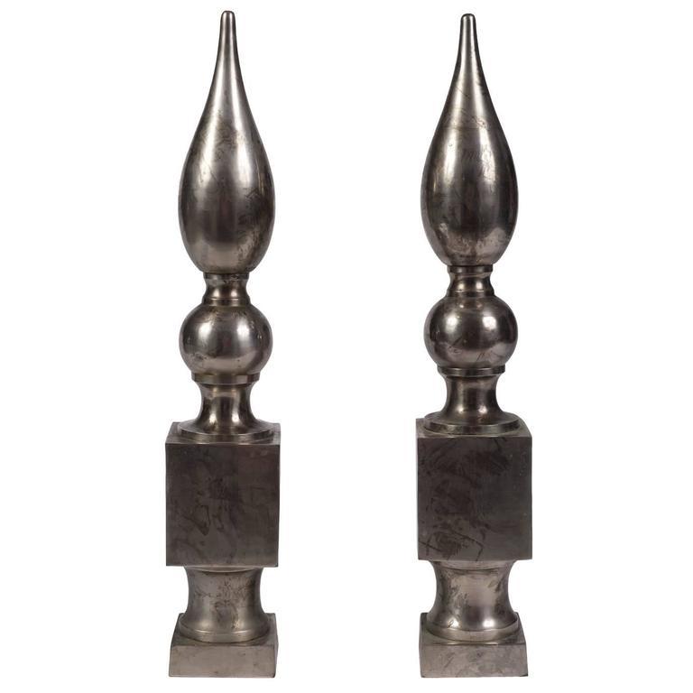 Pair of Vintage Metal Obelisks