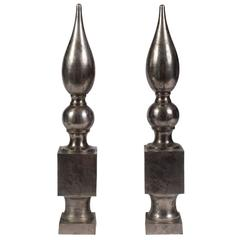 Pair of Vintage Metal Obelisks
