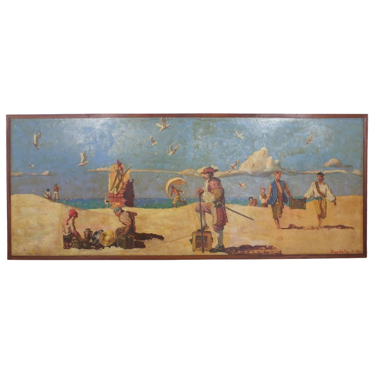 Huge oil on canvas pirate mural painting at 1stdibs for Canvas mural painting