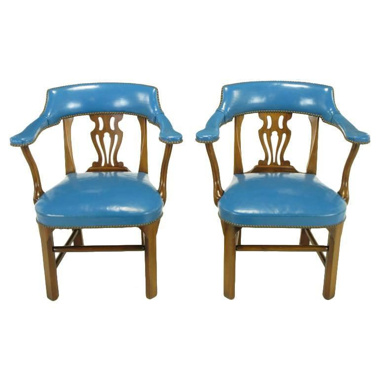 Pair Of Barnard And Simonds Blue Leather And Mahogany