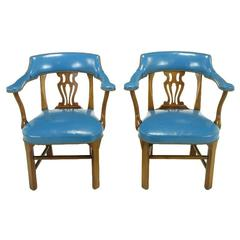 Pair of Barnard & Simonds Blue Leather and Mahogany Armchairs