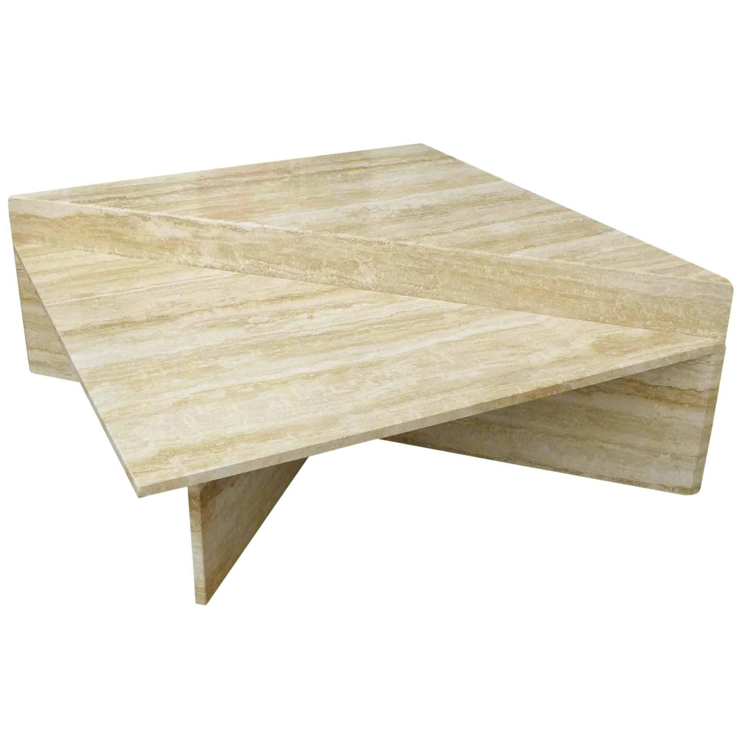 Two piece modular travertine coffee table at 1stdibs geotapseo Image collections