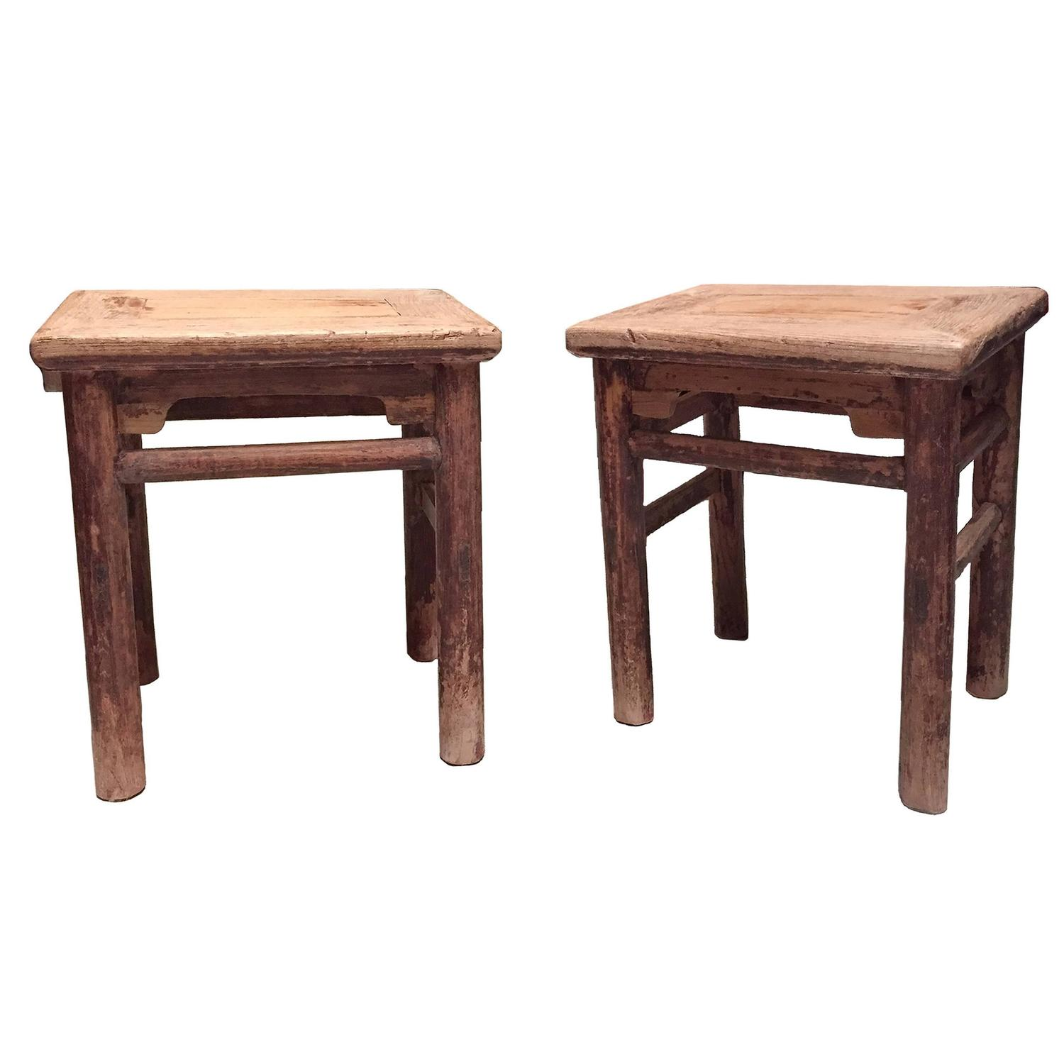 Pair of antique chinese ming style stools 19th century for Antique chinese furniture styles