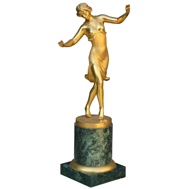 Gilt bronze sculpture france 1930 at 1stdibs