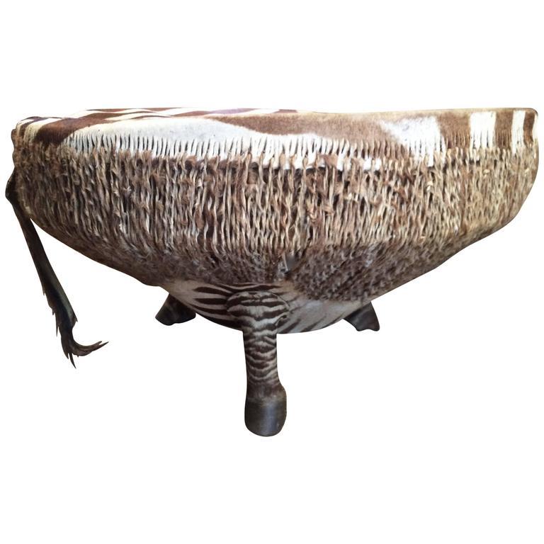 Zebra Drum Table from Ghana