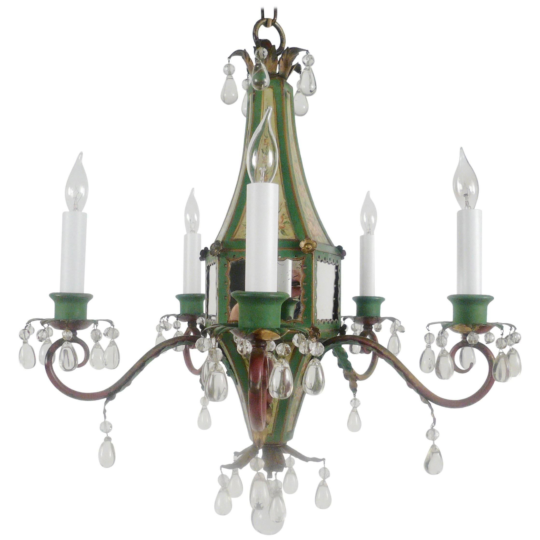 Five-Light Tole Peinte and Crystal Chandelier
