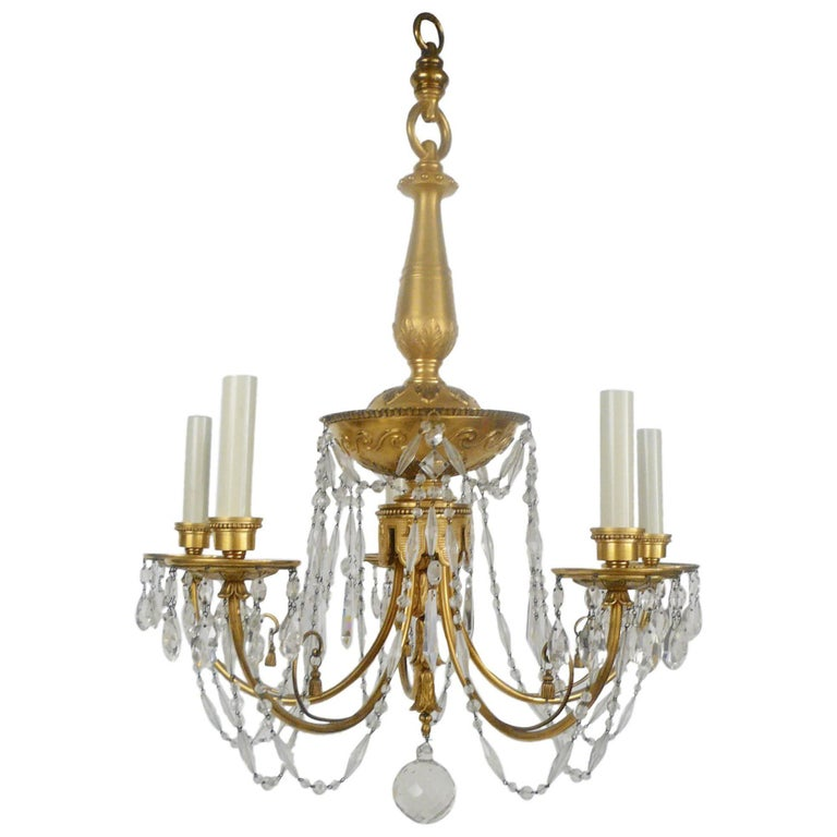 Gilt Bronze and Cut Crystal Chandelier by E. F. Caldwell