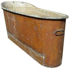 French Empire Faux Bois Copper Bath Tub