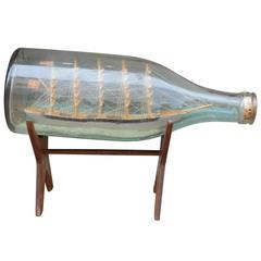 19th Century Danish Diorama Sailor Made Ship in Bottle