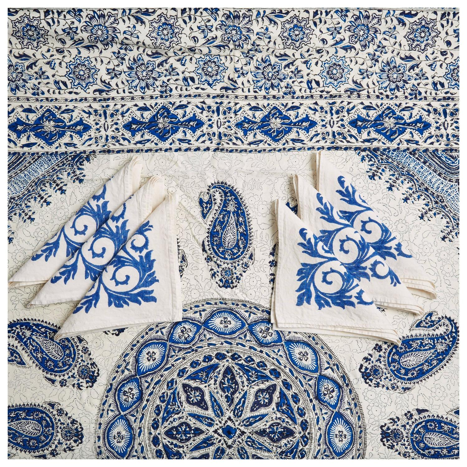 Blue And White Ghalamkar Square Tablecloth And Hand