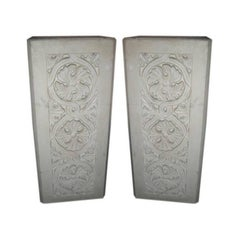 Pair of Plaster Pedestals with Gothic Details