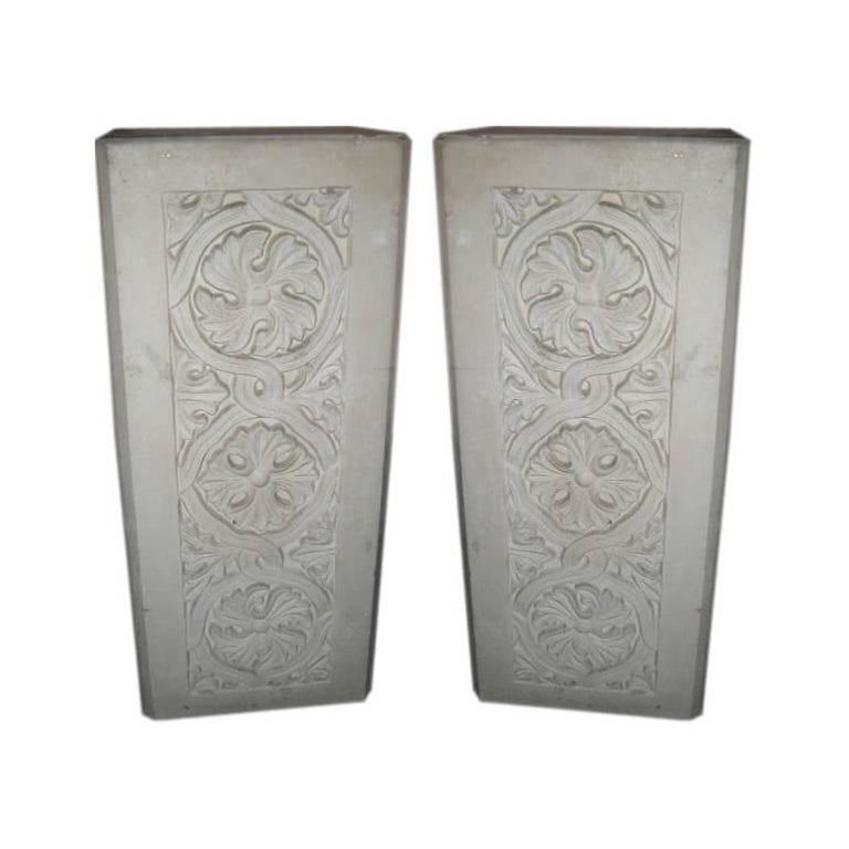 Pair of Plaster Pedestals with Gothic Details 1