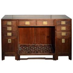 Antique Fretwork Desk with Bronze Hardware and Drawers from China, 19th Century