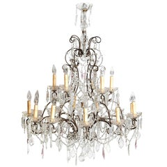 19th Century Italian Eighteen-Light Crystal and Iron Chandelier
