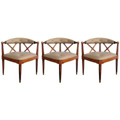 Stylish Set of Three American Custom-Made Corner Chairs by Tomlinson Furniture