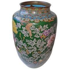 Large Japanese Enamel Vase, Cloissoné, decorated with Chrysanthemum Decoration