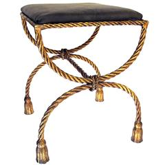 Shapely Italian 196's Gilt Iron Rope-Twist Curule-Form Bench