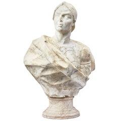 Italian Bust of Condottieri in Marble, circa 1650
