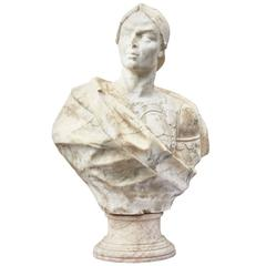 Italian Bust of Condottieri in Marble, circa 1650