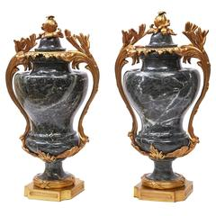 Pair of French Napoleon III Large Ormolu-Mounted Marble Cassolettes, circa 1880