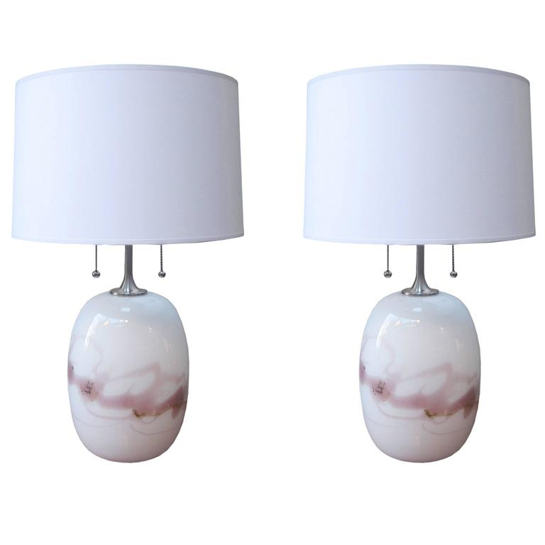 Pair of Holmgaard Modernist Glass Table Lamps