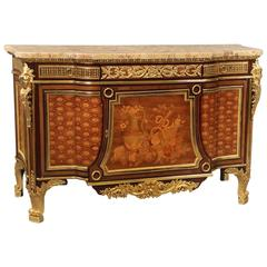 Exceptional Late 19th Century Inlaid Marquetry and Parquetry Commode
