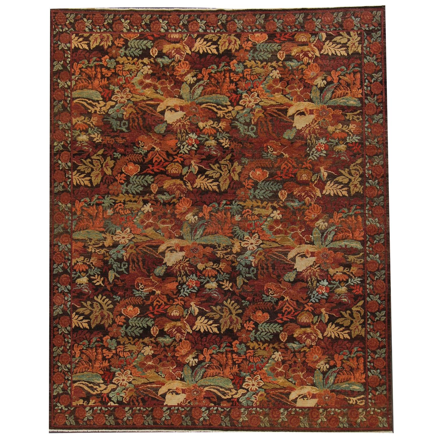 Warm toned tropical all over floral rug for sale at 1stdibs for Warm rugs