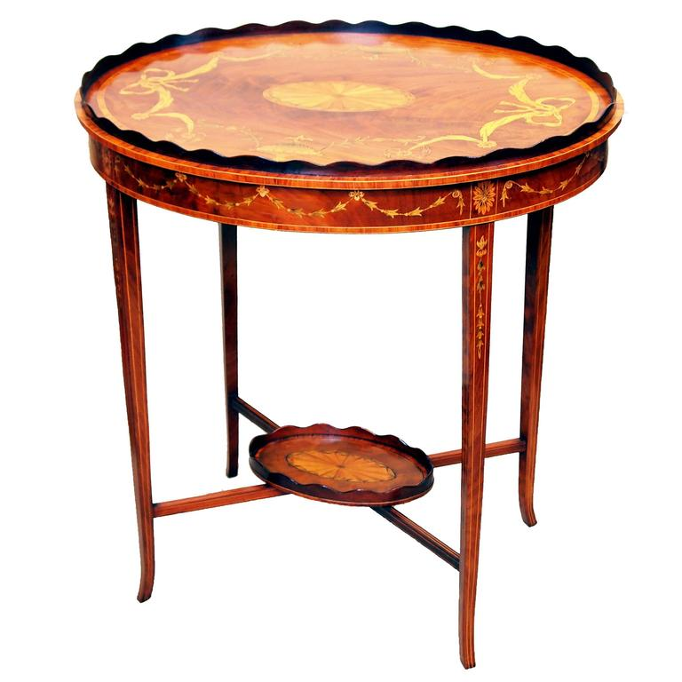 Antique Mahogany Tray-Top Occasional Table