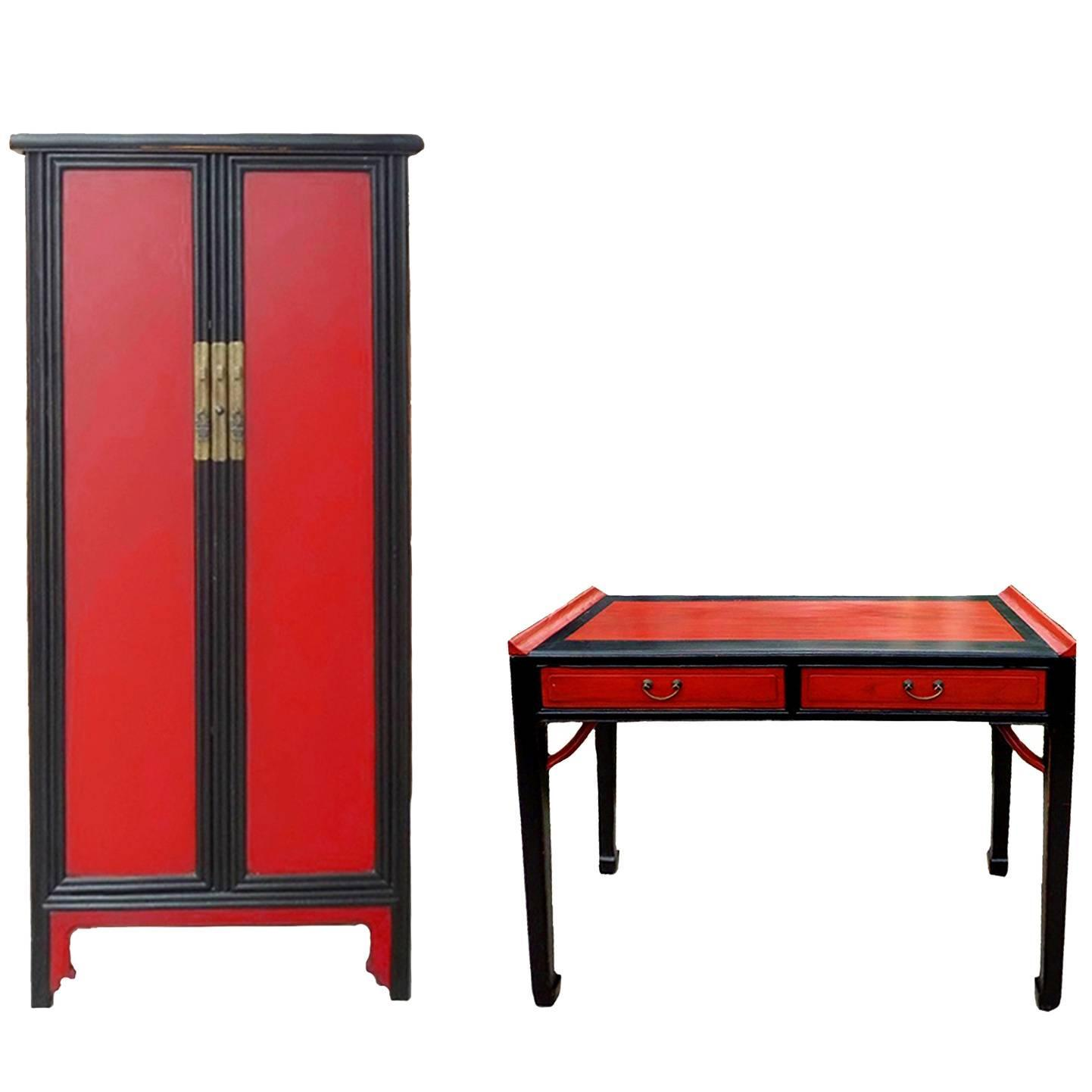 Red and black lacquer ming style cabinet and desk for sale for Red chinese furniture