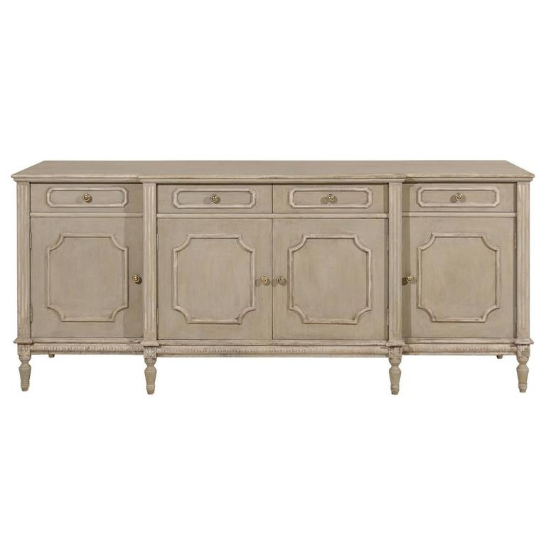 Lovely Painted Wood Breakfront Four-Door Enfilade or Sideboard with Drawers
