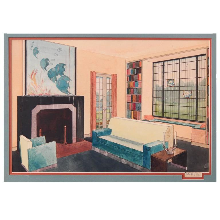 """Living Room With Aquatic-Themed Painting,"" Fabulous Art"