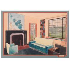 """Living Room with Aquatic-Themed Painting,"" Fabulous Art Deco Watercolor"