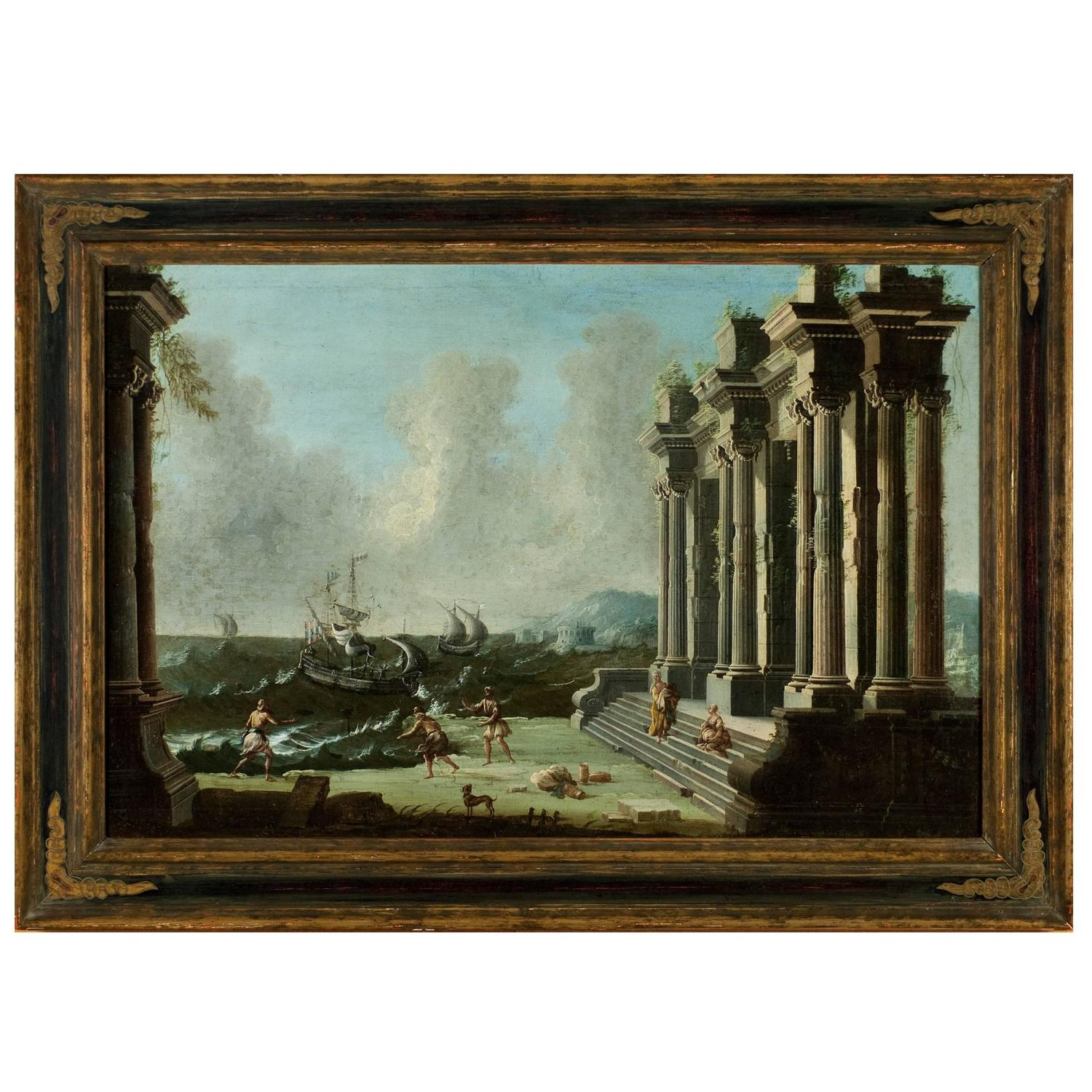Marvelous photograph of Architectural Ruins Painting by Neapolitan Master Gennaro Greco circa  with #644823 color and 1500x1500 pixels