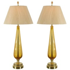Unusual Pair of Vintage Amber Murano and Brass Lamps