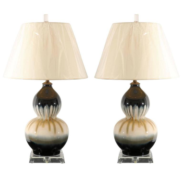 pair of drip glaze ceramic double gourd lamps for sale at 1stdibs. Black Bedroom Furniture Sets. Home Design Ideas