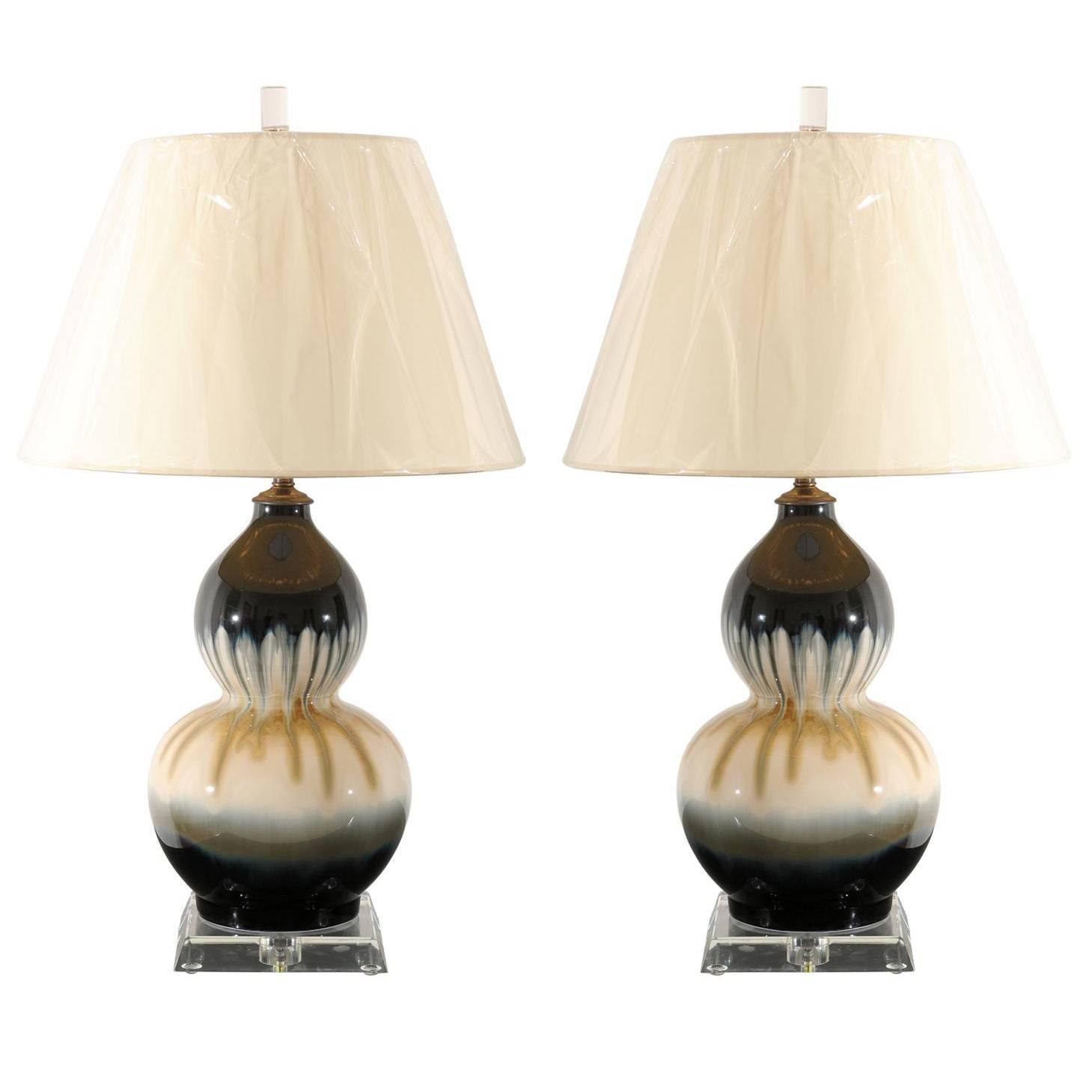 Elegant Pair of Drip Glaze Ceramic Double Gourd Lamps