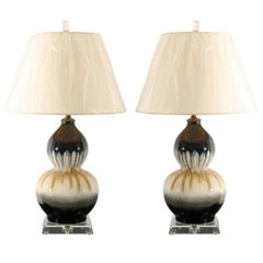 Elegant Pair of Drip Glaze Ceramic Double Gourd Lamps