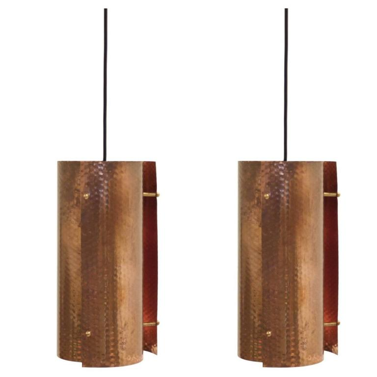 Pair of Scandinavian Pendants in Copper, 1960s