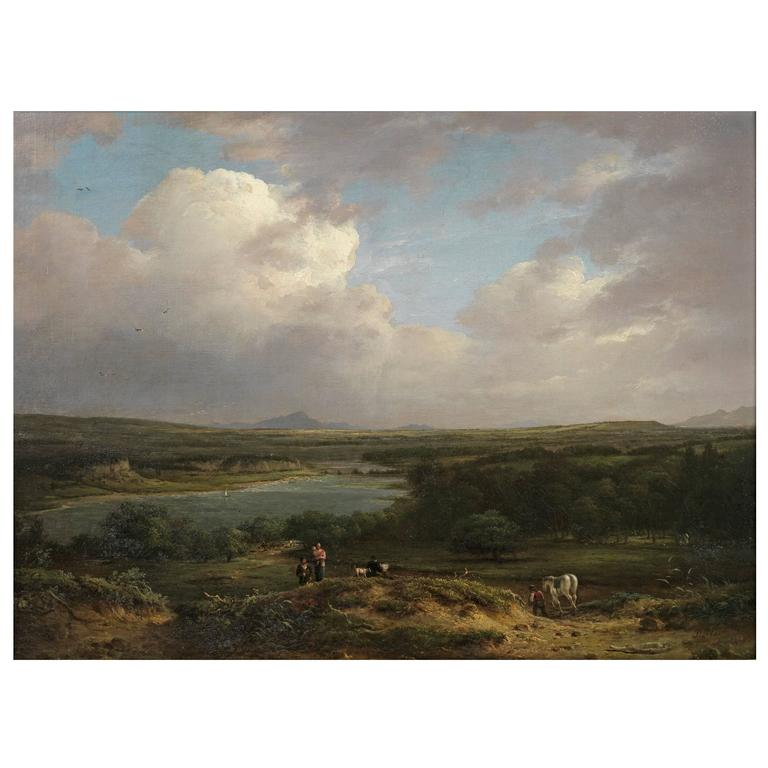 19th Century Scottish Oil Painting of Figures in a Landscape by Patrick Nasmyth