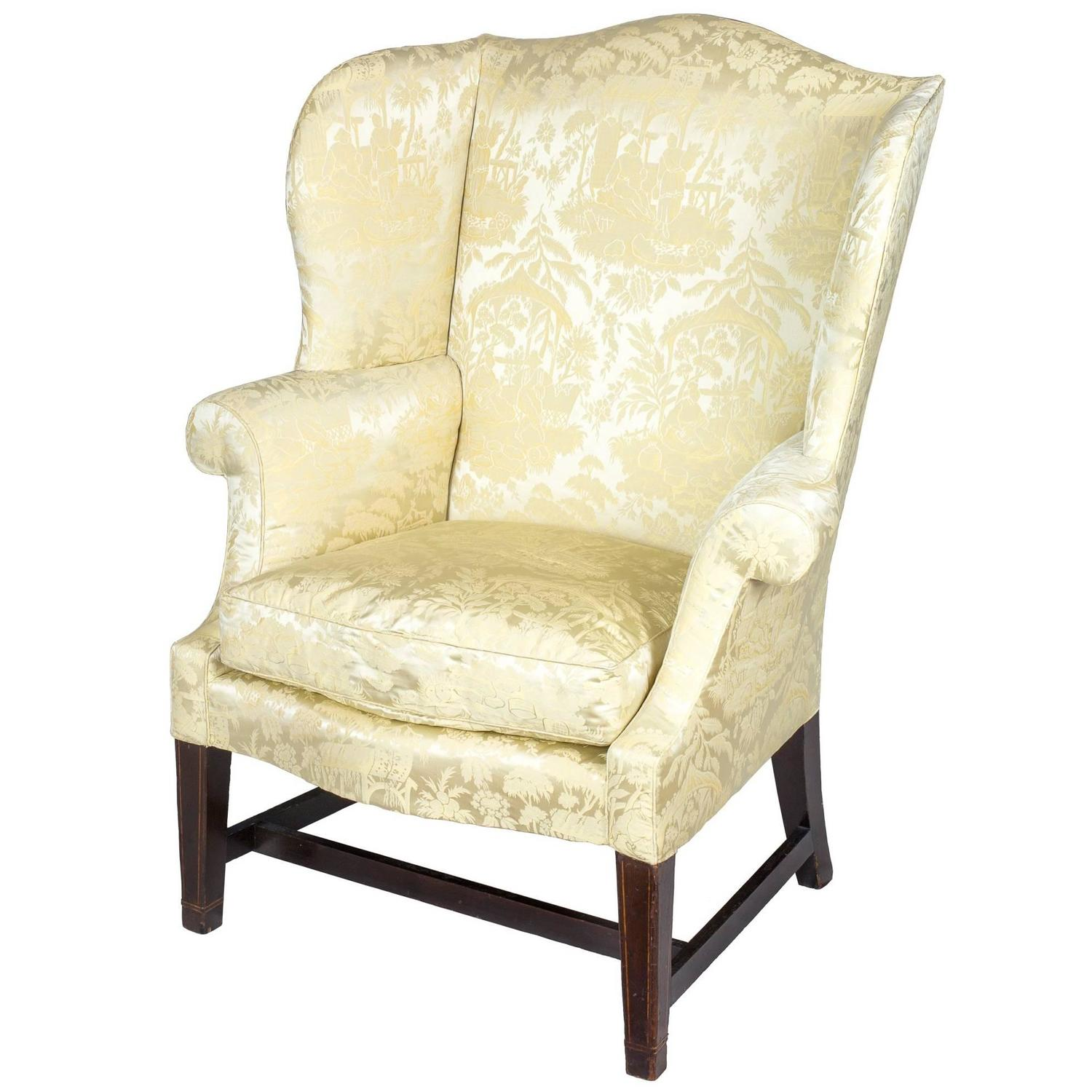 Small Hepplewhite Inlaid Mahogany Wing Chair, Philadelphia, Israel Sack