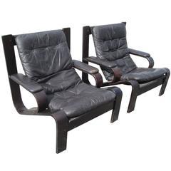 Pair of Vintage Black Bentwood Lounge Chairs