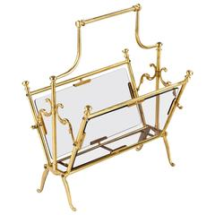 French Midcentury Brass Magazine Holder