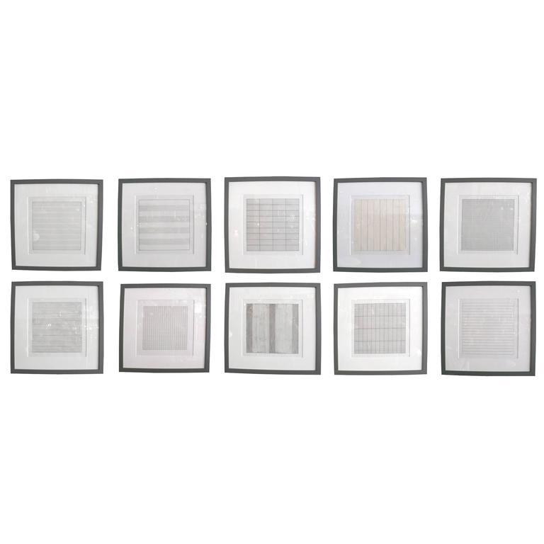 Set of Ten Framed Agnes Martin Lithographs 1